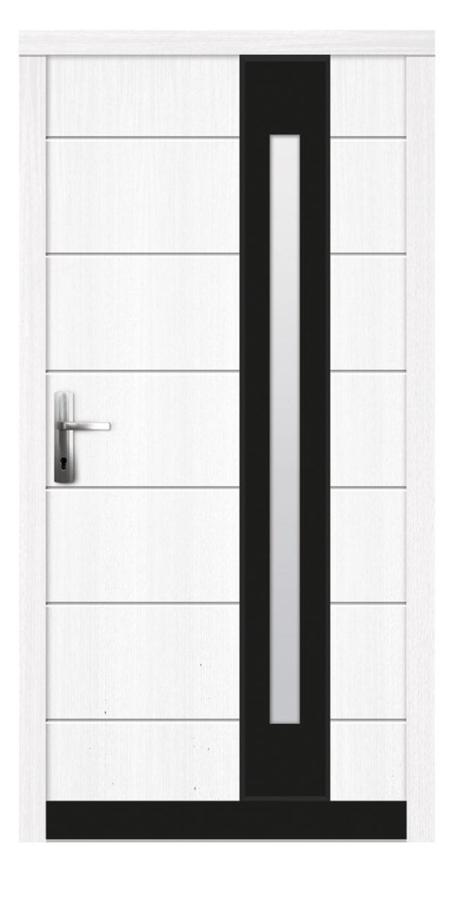 Drewniane drzwi zewnętrzne dekoracją ze szkła