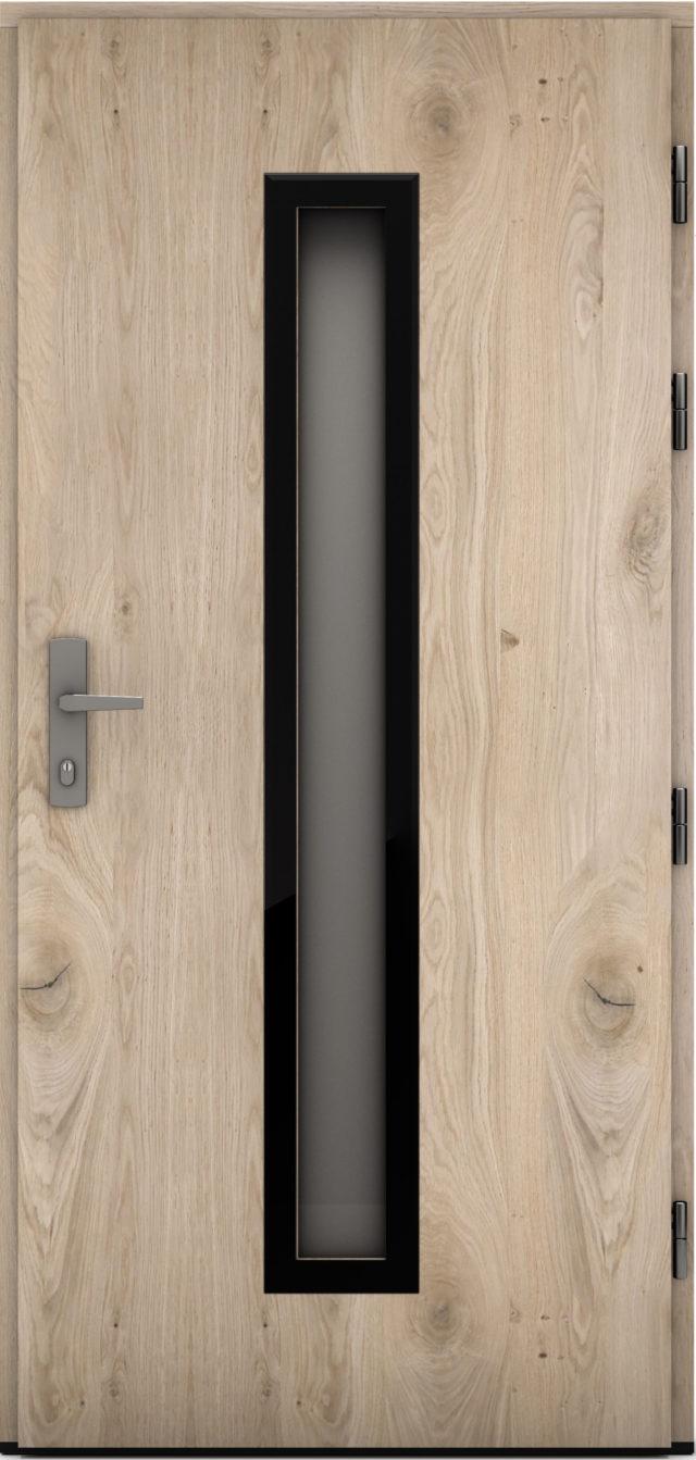 Pasywne drzwi zewnętrzne z prostokątnym przeszkleniem Elizabeth_bielony