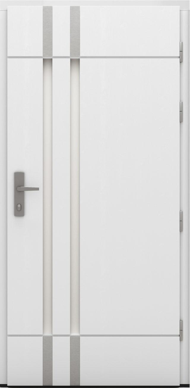 Białe drzwi zewnętrzne drewniane Florian