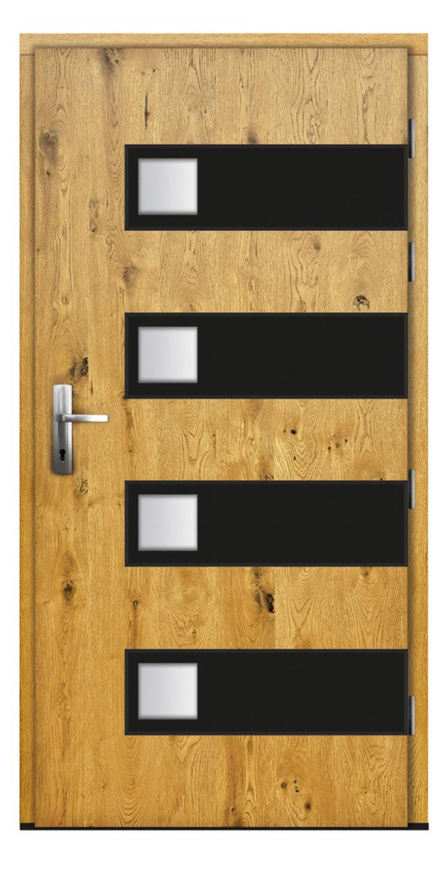 Drzwi zewnętrzne z niewielkimi przeszkleniami
