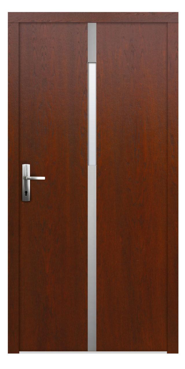 Wejściowe drzwi drewniane ze stalą inox Skarbek