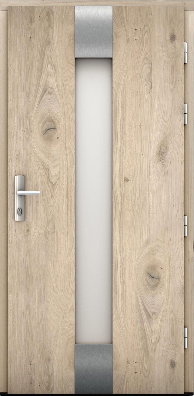 Drzwi zewnętrzne drewniane bielony dąb