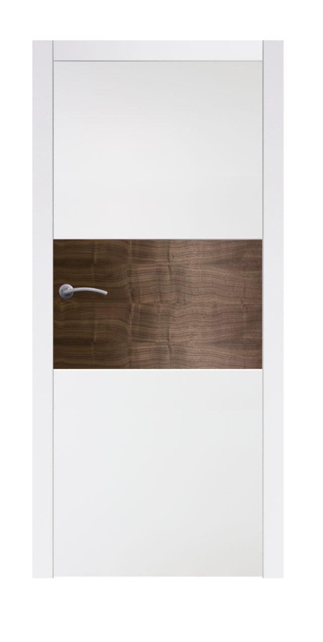 Pełne Drzwi pokojowe z drewniana wstawką na środku Boksze 02 - Drzwi CAL