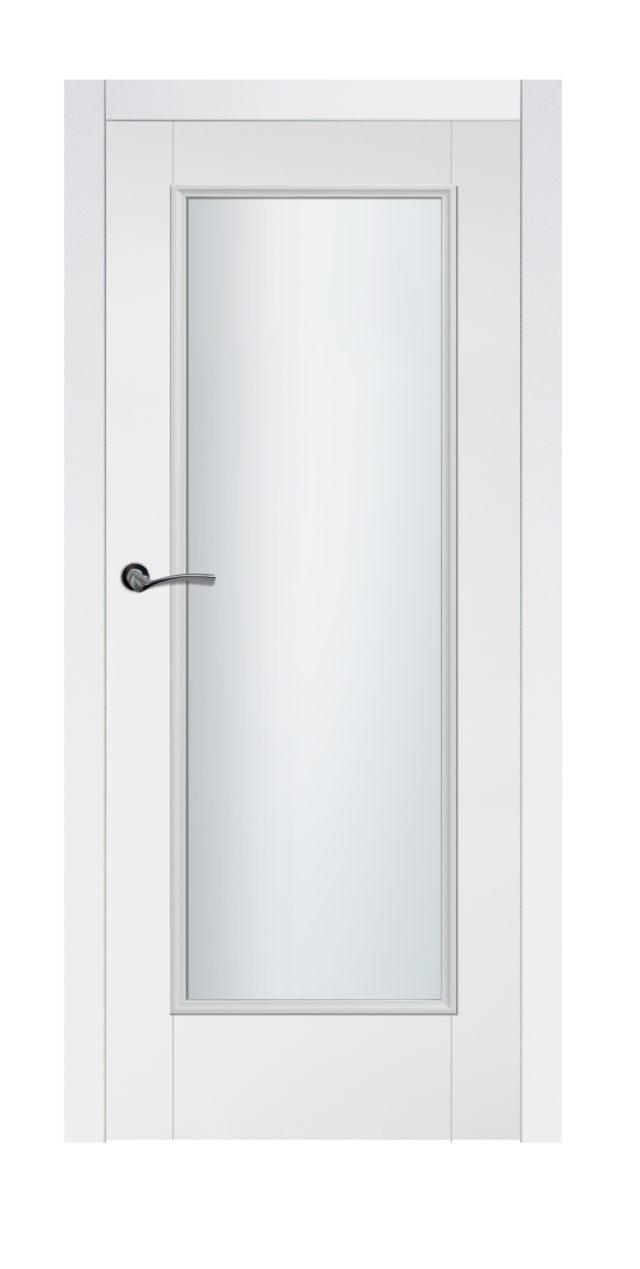 Białe drzwi wewnętrzne z dużym przeszkleniem Protazy 1s