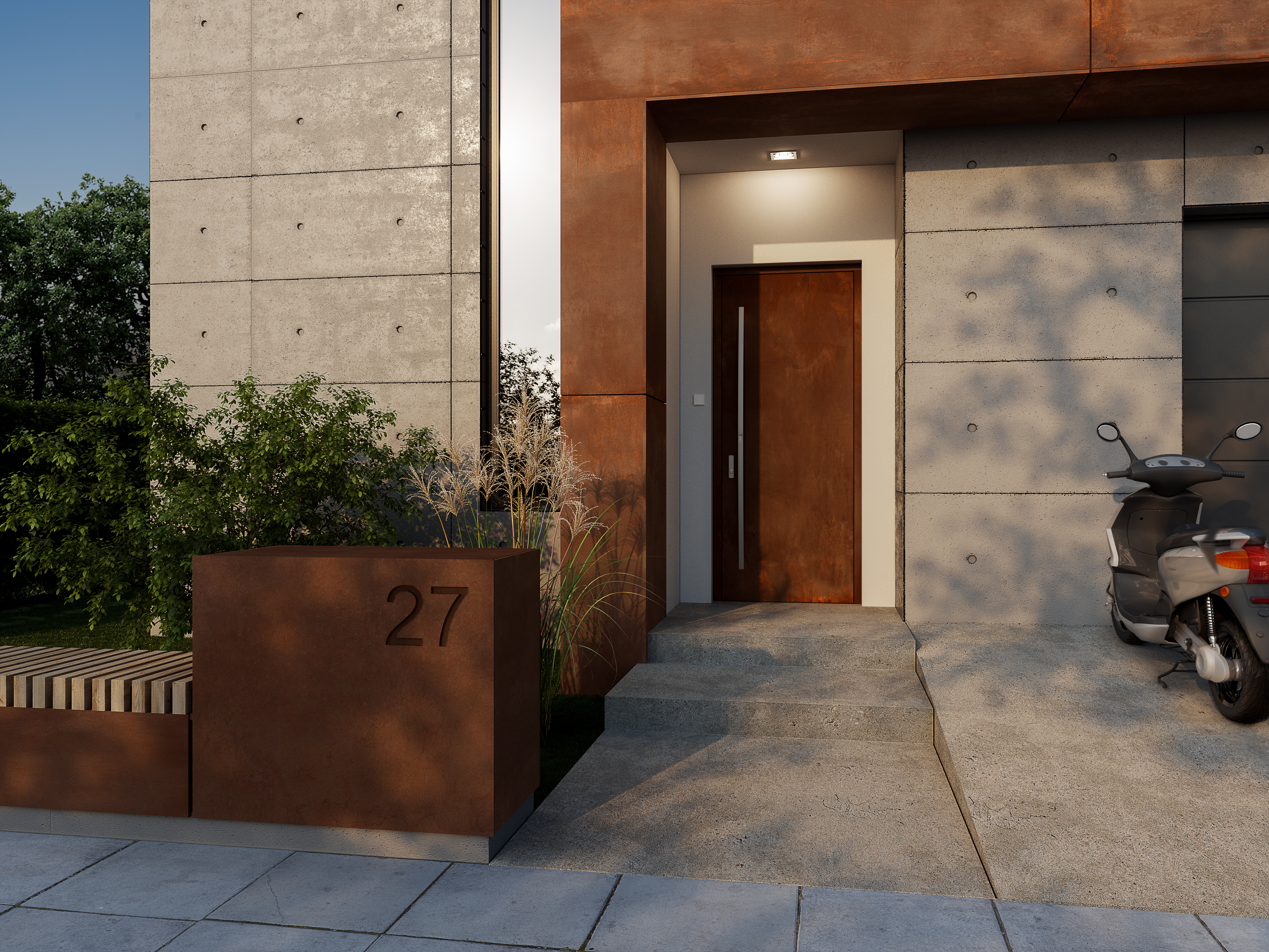 Drzwi zewnętrzne drewniane z kamienien
