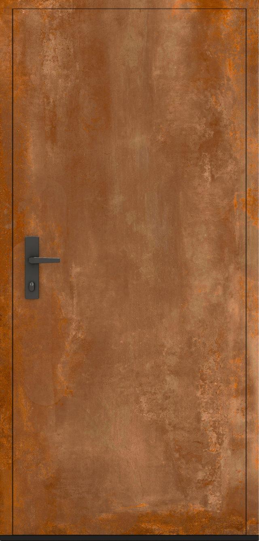 Drewniane drzwi zewnętrzne w rdzawym kolorze Jagienka Korten
