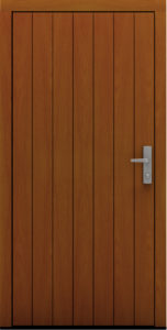 Drewniane drzwi wejściowe z pionowym deskowaniem Saliko - Drzwi CAL