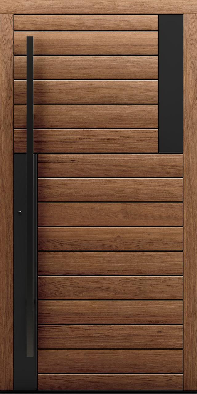 Drewniane drzwi zewnętrzne z poziomym deskowaniem Acero