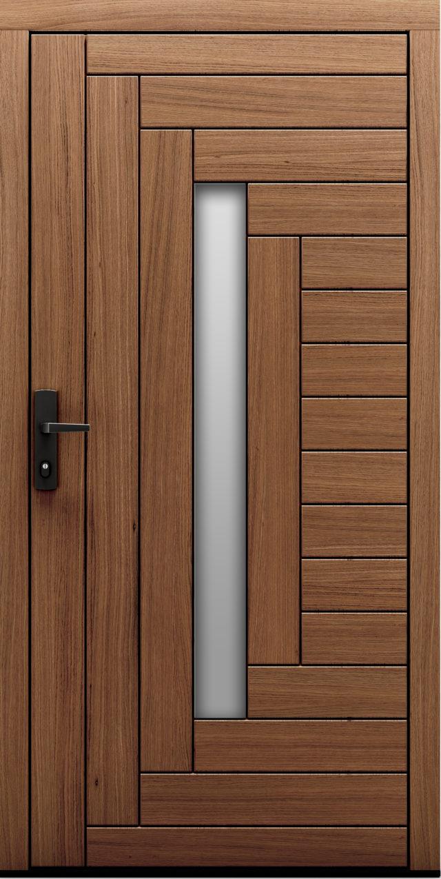 Drzwi zewnętrzne z widocznym deskowaniem oraz przeszkleniem Fago