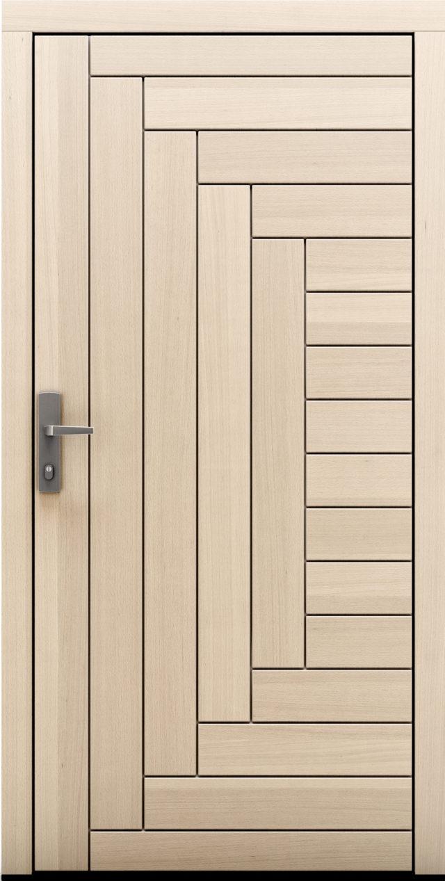 Drzwi zewnętrzne drewniane z bielonym dębem Karpeno
