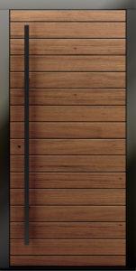 Drzwi zewnętrzne drewniane z antaba kwadratowa Kverko - Drzwi CAL
