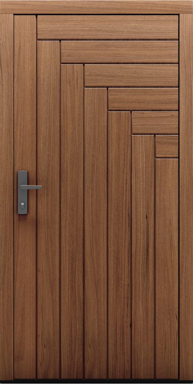 Drzwi zewnętrzne z widocznymi dębowymi deskami Pino